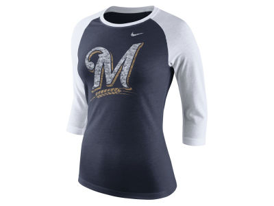 Milwaukee Brewers Nike MLB Women's Tri Logo Raglan T-Shirt