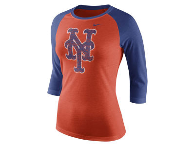 New York Mets Nike MLB Women's Tri Logo Raglan T-Shirt