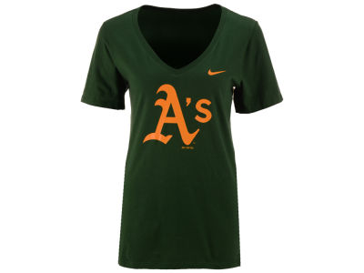 Oakland Athletics Nike MLB Women's V-Neck Logo T-Shirt