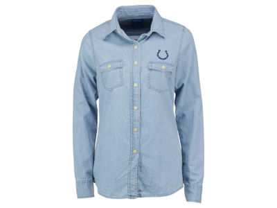 Indianapolis Colts NFL Women's Long Sleeve Chambray Button Up Shirt