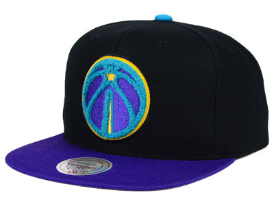 Washington Wizards Mitchell and Ness NBA Aqua 8 Chenille Snapback Cap