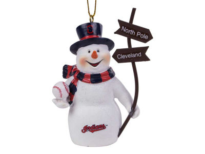 Cleveland Indians Snowman with Sign Ornament