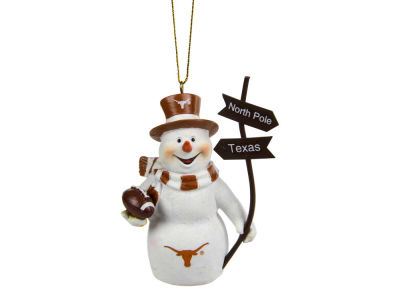 Texas Longhorns Snowman with Sign Ornament