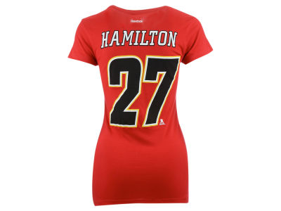 Calgary Flames Dougie Hamilton Reebok NHL Women's Player V-Neck T-Shirt