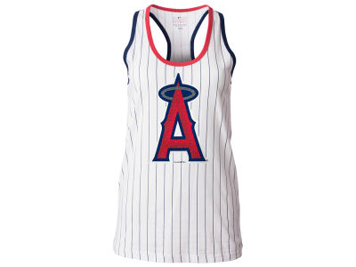 Los Angeles Angels 5th & Ocean MLB Women's Pinstripe Glitter Tank