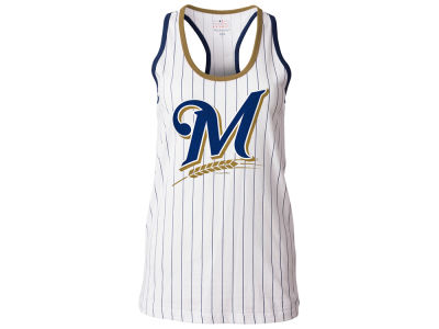 Milwaukee Brewers 5th & Ocean MLB Women's Pinstripe Glitter Tank