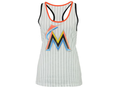 Miami Marlins 5th & Ocean MLB Women's Pinstripe Glitter Tank