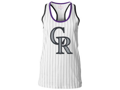 Colorado Rockies 5th & Ocean MLB Women's Pinstripe Glitter Tank