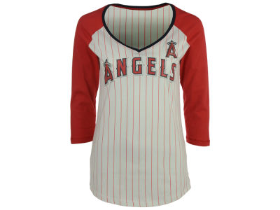 Los Angeles Angels 5th & Ocean MLB Women's Pinstripe Glitter Raglan T-Shirt