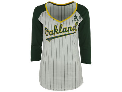 Oakland Athletics 5th & Ocean MLB Women's Pinstripe Glitter Raglan T-Shirt
