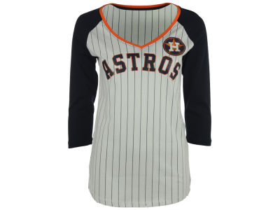 Houston Astros 5th & Ocean MLB Women's Pinstripe Glitter Raglan T-Shirt