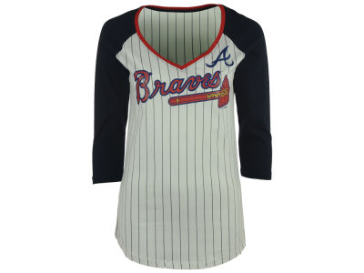 Atlanta Braves 5th & Ocean MLB Women's Pinstripe Glitter Raglan T-Shirt