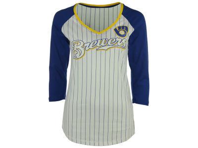 Milwaukee Brewers 5th & Ocean MLB Women's Pinstripe Glitter Raglan T-Shirt