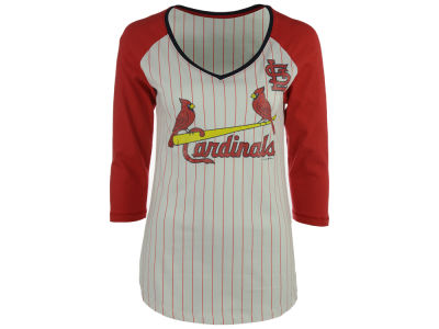 St. Louis Cardinals 5th & Ocean MLB Women's Pinstripe Glitter Raglan T-Shirt