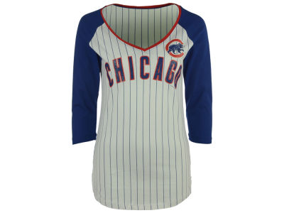 Chicago Cubs 5th & Ocean MLB Women's Pinstripe Glitter Raglan T-Shirt