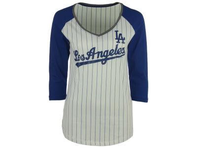 Los Angeles Dodgers 5th & Ocean MLB Women's Pinstripe Glitter Raglan T-Shirt