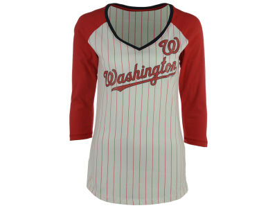 Washington Nationals 5th & Ocean MLB Women's Pinstripe Glitter Raglan T-Shirt