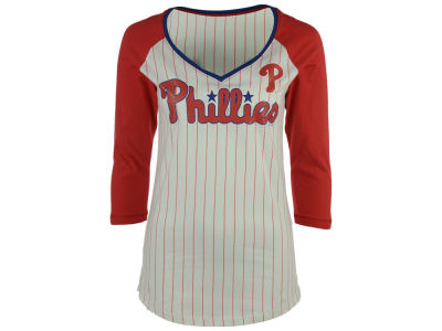 Philadelphia Phillies 5th & Ocean MLB Women's Pinstripe Glitter Raglan T-Shirt