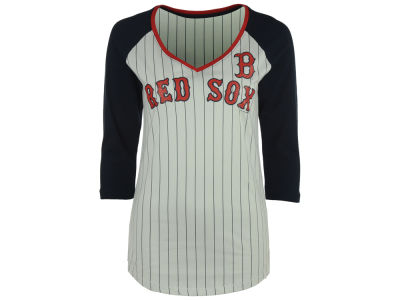 Boston Red Sox 5th & Ocean MLB Women's Pinstripe Glitter Raglan T-Shirt