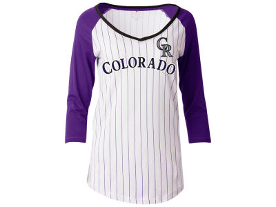 Colorado Rockies 5th & Ocean MLB Women's Pinstripe Glitter Raglan T-Shirt