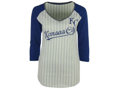 Kansas City Royals 5th & Ocean MLB Women's Pinstripe Glitter Raglan T-Shirt