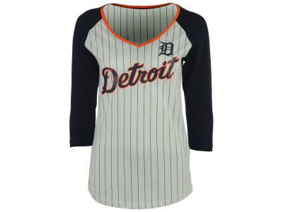 Detroit Tigers 5th & Ocean MLB Women's Pinstripe Glitter Raglan T-Shirt