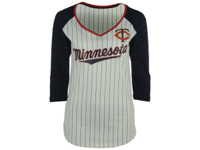 Minnesota Twins 5th & Ocean MLB Women's Pinstripe Glitter Raglan T-Shirt