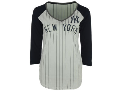 New York Yankees 5th & Ocean MLB Women's Pinstripe Glitter Raglan T-Shirt