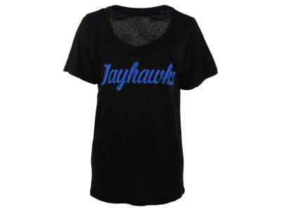 Kansas Jayhawks NCAA Women's Curves Glitter Short Sleeve Plus Size T-Shirt