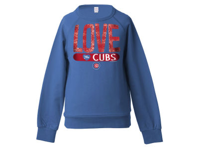 Chicago Cubs 5th & Ocean MLB Girls Sequin Raglan Pull Over Sweatshirts