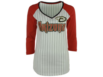 Arizona Diamondbacks 5th & Ocean MLB Women's Pinstripe Glitter Raglan T-Shirt