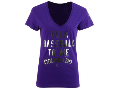 Colorado Rockies Majestic MLB Women's Talk Baseball T-Shirt