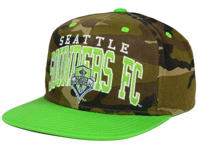 Seattle Sounders FC adidas MLS Camo Team Color Snapback Cap