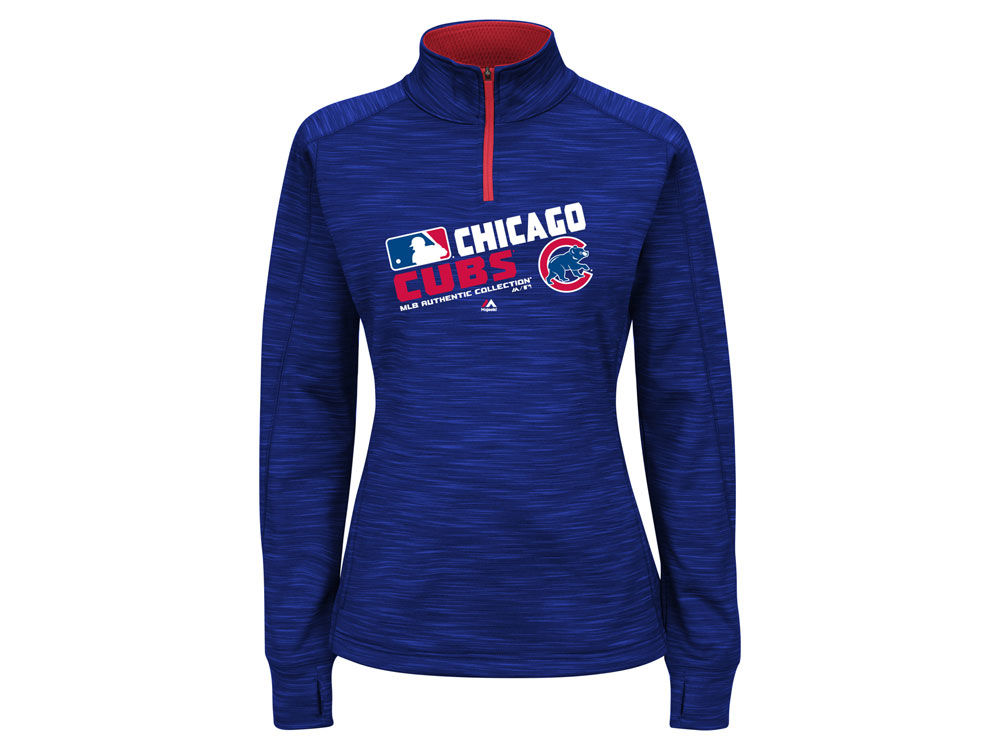wholesale dealer 86326 ad986 Chicago Cubs Majestic MLB Women's AC Quarter Zip Pullover Shirt