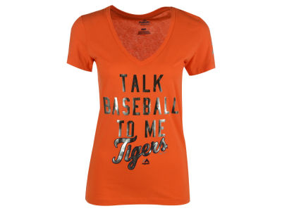 Detroit Tigers Majestic MLB Women's Talk Baseball T-Shirt
