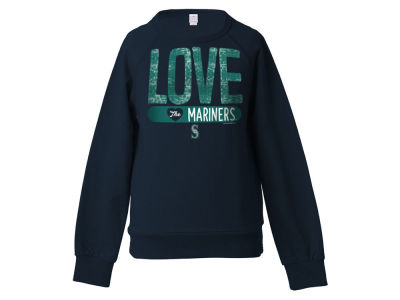 Seattle Mariners 5th & Ocean MLB Girls Sequin Raglan Pull Over Sweatshirts