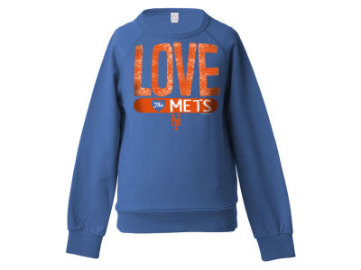 New York Mets 5th & Ocean MLB Girls Sequin Raglan Pull Over Sweatshirts
