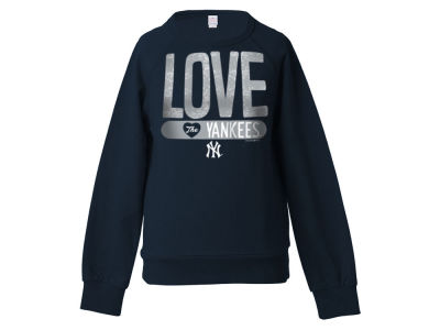 New York Yankees 5th & Ocean MLB Girls Sequin Raglan Pull Over Sweatshirts