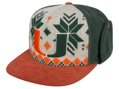 Miami Hurricanes Top of the World NCAA Ugly Sweater Strapback Cap