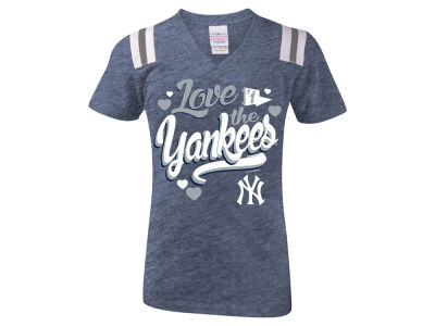 New York Yankees 5th & Ocean MLB Girls Shoulder Stripe Glitter T-Shirt