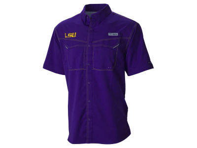 LSU Tigers Columbia NCAA Men's Low Drag Offshore Contrast Stitch Button Down Shirt