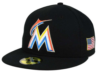 Miami Marlins New Era MLB AC 9-11 Patch 59FIFTY Cap