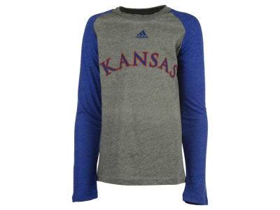 Kansas Jayhawks adidas NCAA Youth Team Font Long Sleeve Triblend Raglan T-Shirt