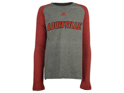 Louisville Cardinals adidas NCAA Youth Team Font Long Sleeve Triblend Raglan T-Shirt