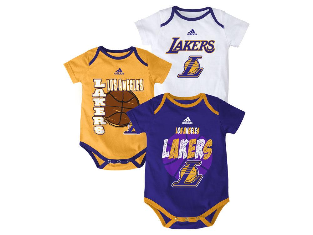 Los Angeles Lakers NBA Infant 3 Point Spread Bodysuit Set  6671057df