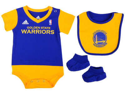 Golden State Warriors NBA Newborn Creeper Bib & Bootie Set