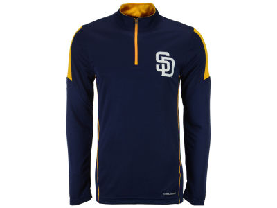 San Diego Padres Majestic MLB Men's Status Inquiry Half Zip Long Sleeve Pullover