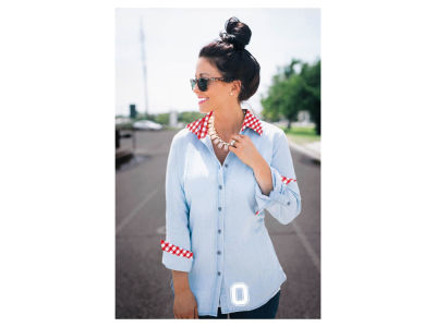 Ohio State Buckeyes NCAA Women's Gingham Chambray Button Up Shirt