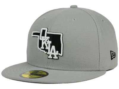 Oklahoma City Dodgers New Era MiLB Gray Black White 59FIFTY Cap