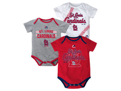 St. Louis Cardinals Majestic MLB Newborn Three Strikes Bodysuit Set